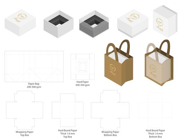 Scatola e sacchetto di carta mockup con dieline Vettore Premium
