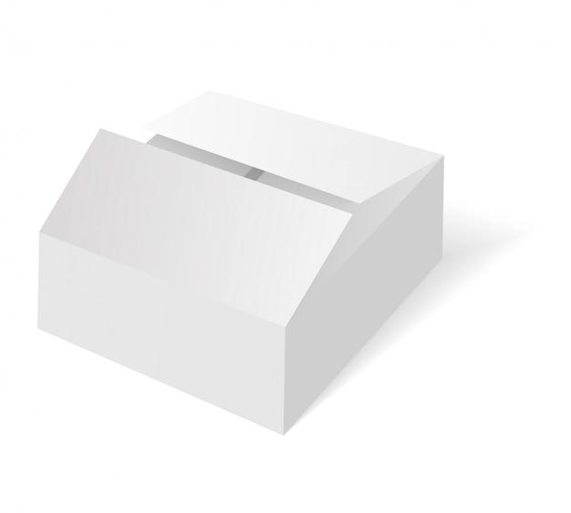 Scatola isometrica in bianco bianca. scatola di imballaggio in cartone. Vettore Premium
