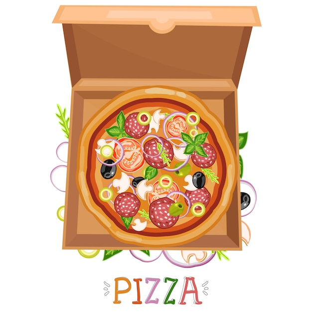 Scatola per pizza Vettore Premium