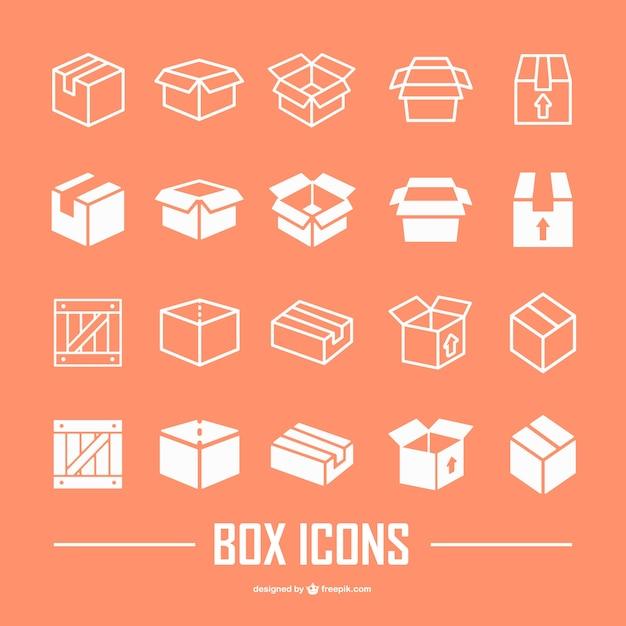 Scatola piatta raccolta di icone Vettore gratuito