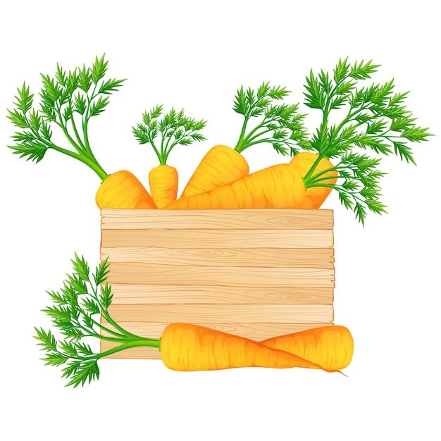 Scatola piena di carote disegno Vettore gratuito