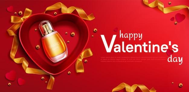 Scatola regalo aperta a forma di cuore con striscione bottiglia di profumo Vettore gratuito