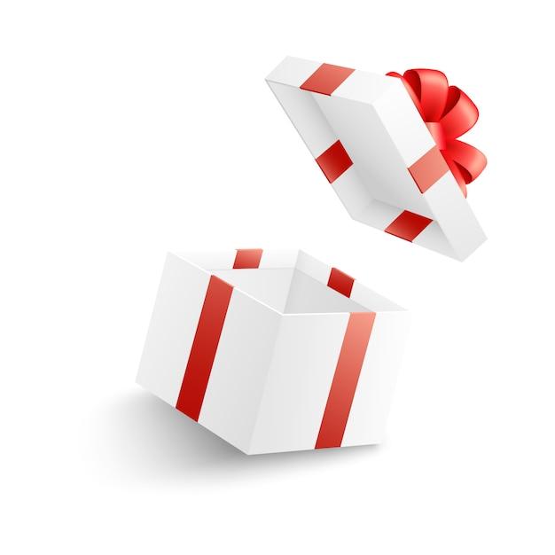 Scatola regalo bianca aperta vuota con nastro rosso, fiocco e copertina volante. Vettore Premium
