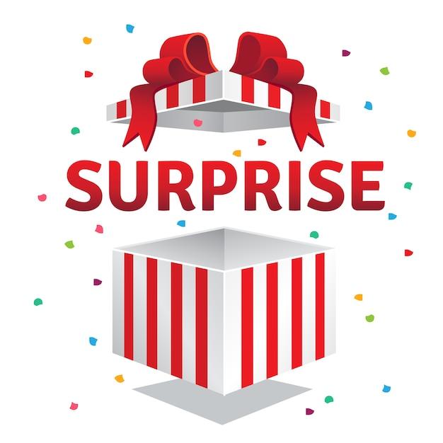 Scatola regalo di sorpresa aperta Vettore gratuito
