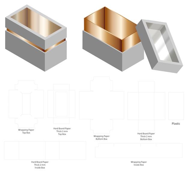 Scatola rigida di carta rigida 3d mockup con dieline Vettore Premium