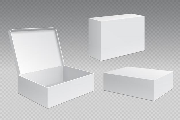 Scatole da imballaggio realistiche. confezione di cartone aperta bianca, prodotti di merchandising vuoti. modello di contenitore quadrato di cartone Vettore Premium