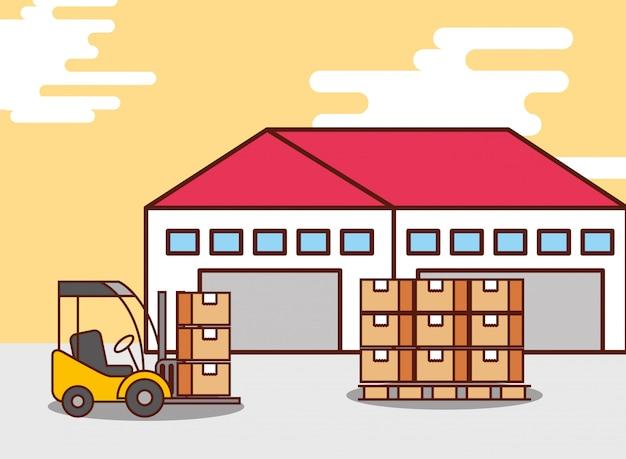 Scatole di cartone del magazzino logistico e macchina del carrello elevatore Vettore gratuito