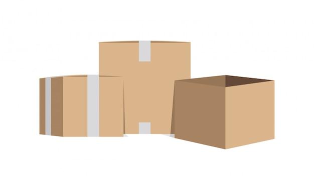 Scatole di cartone sigillate e aperte Vettore Premium