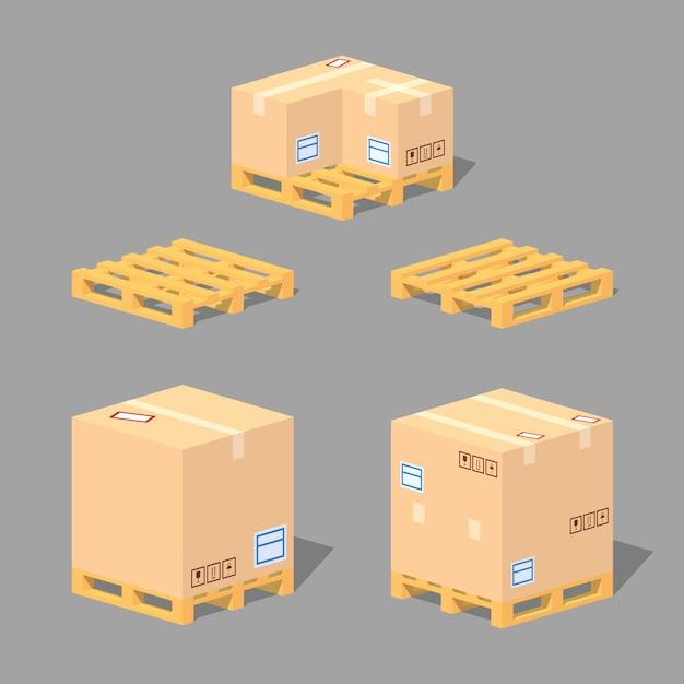 Scatole di cartone sui pallet. illustrazione isometrica di vettore lowpoly 3d. Vettore Premium