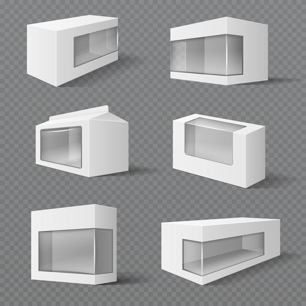 Scatole di imballaggio del prodotto bianco. pacchetti regalo con finestra trasparente. vector i modelli isolati. illustrazione del contenitore della confezione con finestra trasparente Vettore Premium