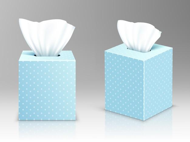 Scatole di tovaglioli di carta, confezioni aperte con fazzoletti di carta frontale e laterale Vettore gratuito