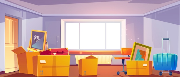 Scatole in camera, passaggio al nuovo concetto di casa. casa con contenitori di cartone pieni di cose per la casa, mobili, cose per bambini e bagagli, interno dell'appartamento con grande finestra, illustrazione del fumetto Vettore gratuito