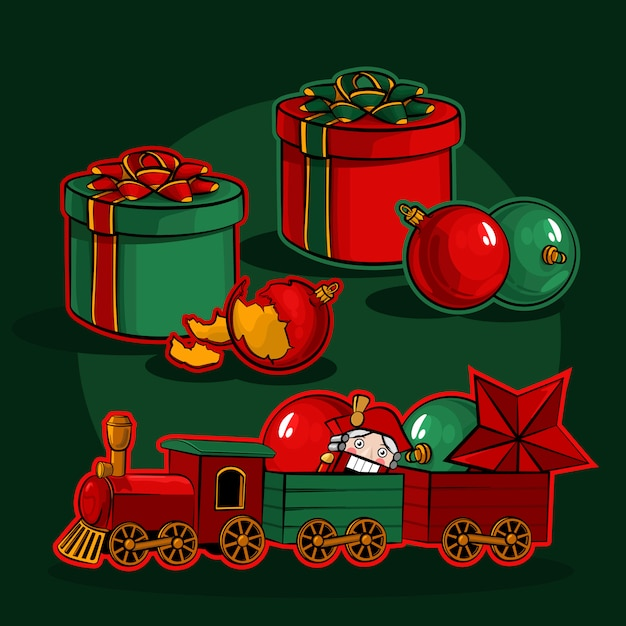 Scatole regalo, palle di natale e un trenino con uno schiaccianoci Vettore Premium