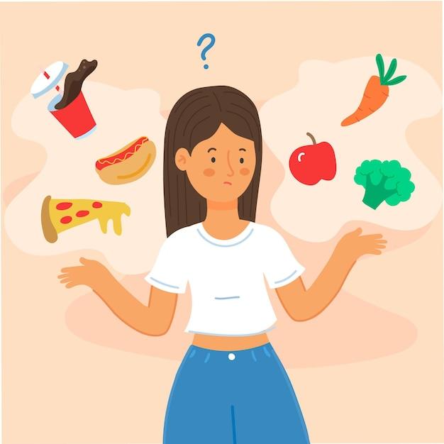 Scegliere tra cibo sano o malsano Vettore gratuito
