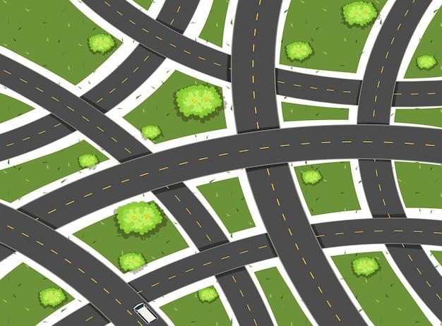 Scena aerea con strade e campi Vettore gratuito