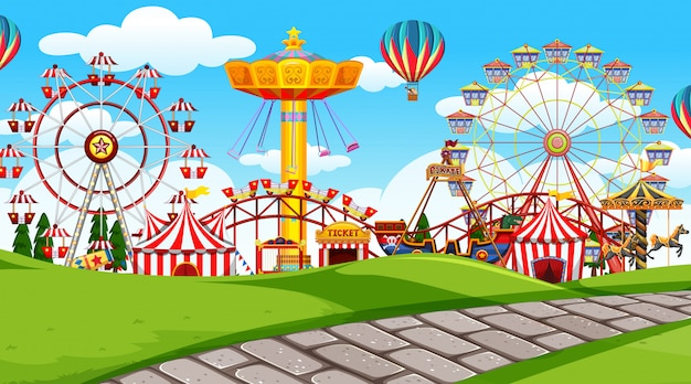 Scena all'aperto con parco divertimenti Vettore gratuito