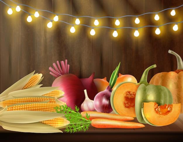 Scena colorata di giorno del ringraziamento con natura morta di verdure sulla tavola e luci all'illustrazione superiore di vettore Vettore gratuito