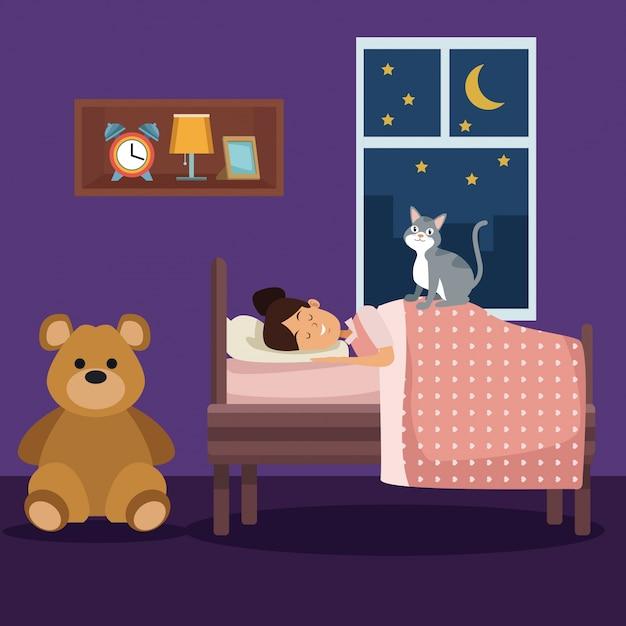 Scena colorata ragazza dormire con coperta in camera da letto ...