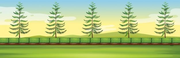 Scena con alberi nel parco Vettore gratuito