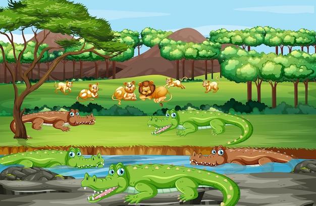 Scena con animali nella foresta Vettore gratuito
