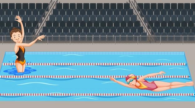 Scena con due nuotatori in piscina Vettore gratuito