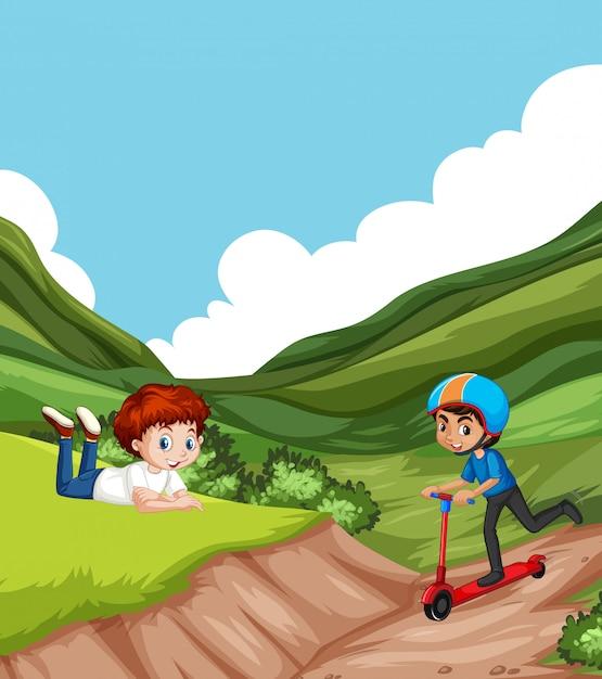 Scena con due ragazzi che giocano nel parco Vettore gratuito