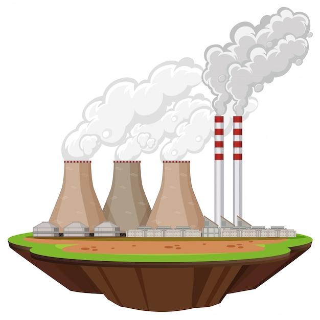 Scena con fabbriche che producono fumo Vettore gratuito