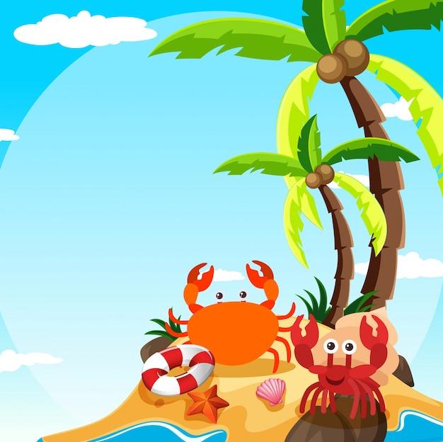 Scena con granchio e granchio eremita sull'isola Vettore gratuito
