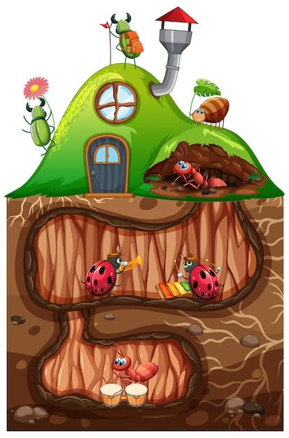 Scena con insetti nel buco sotterraneo Vettore Premium