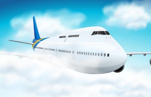 Scena con l'aeroplano che vola nel cielo Vettore gratuito