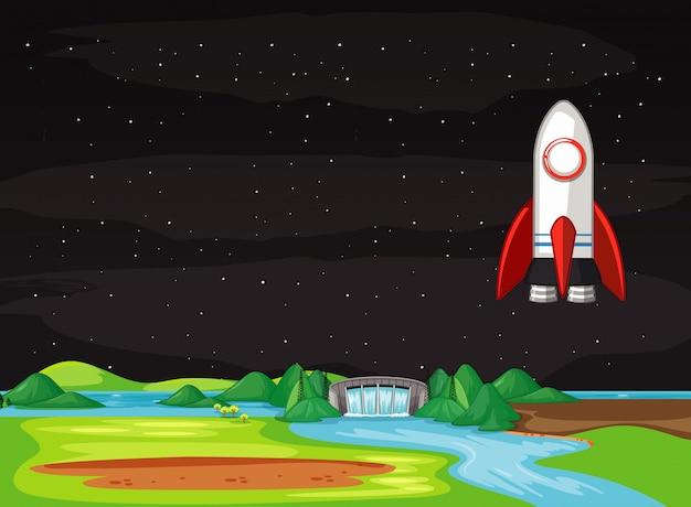 Scena con l'astronave che vola nel cielo Vettore gratuito