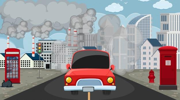 Scena con le costruzioni della fabbrica e dell'automobile che fanno fumo sporco nella città Vettore Premium
