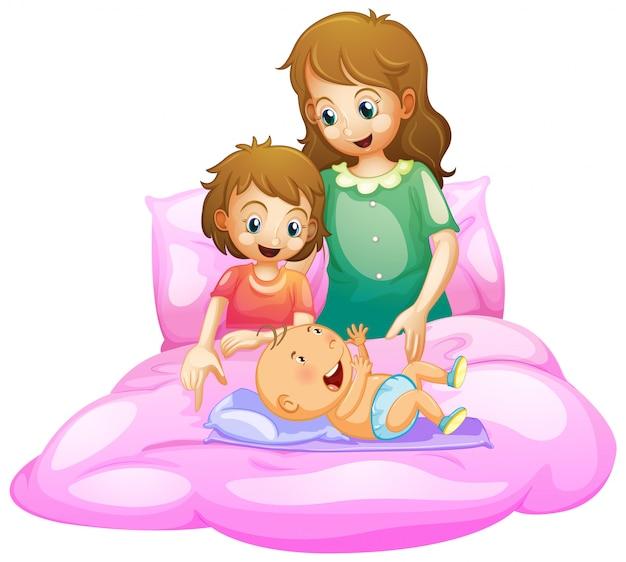 Scena con madre e bambini a letto Vettore gratuito