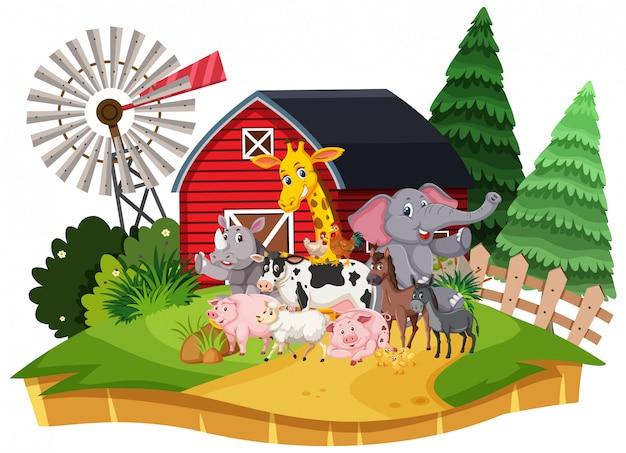 Scena con molti animali selvatici nella fattoria Vettore Premium