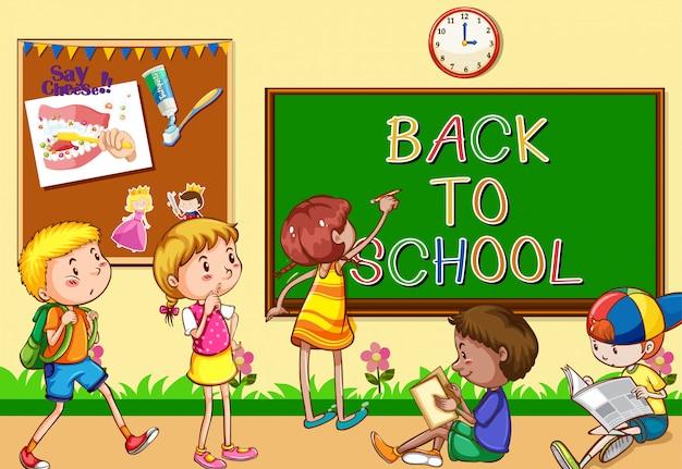 Scena con molti bambini che imparano in classe Vettore gratuito