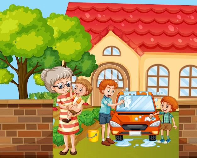 Scena con persone in famiglia che si rilassano a casa Vettore gratuito