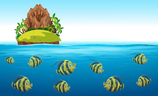 Scena con pesci che nuotano sotto il mare Vettore gratuito