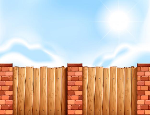 Scena con recinzione in legno Vettore gratuito