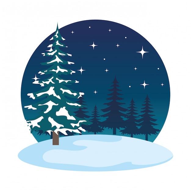 Scena del campo di snowscape di notte Vettore Premium