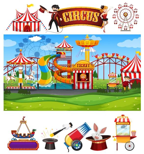 Scena del circo con molte giostre e modello di segno Vettore gratuito