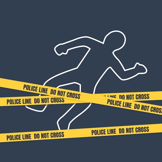 Scena del crimine con contorno del corpo. Vettore Premium