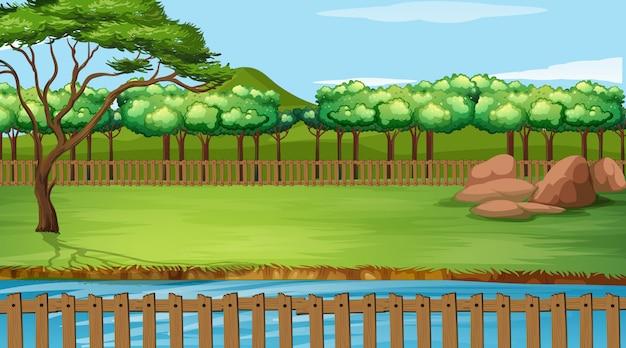Scena del fondo con erba verde nel parco Vettore Premium