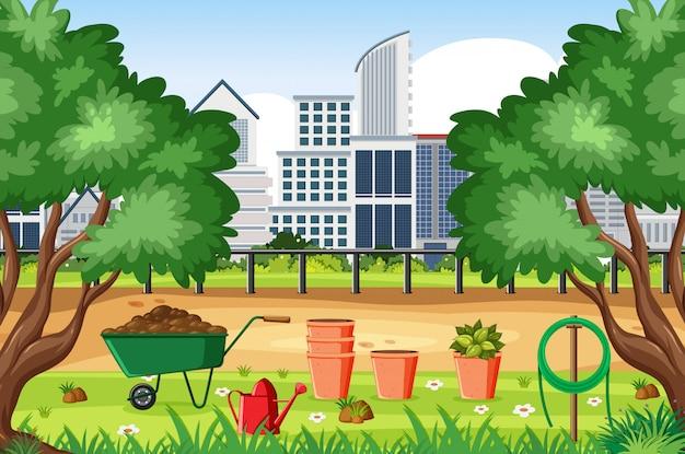 Scena del fondo con le costruzioni della città e gli strumenti di giardinaggio Vettore Premium
