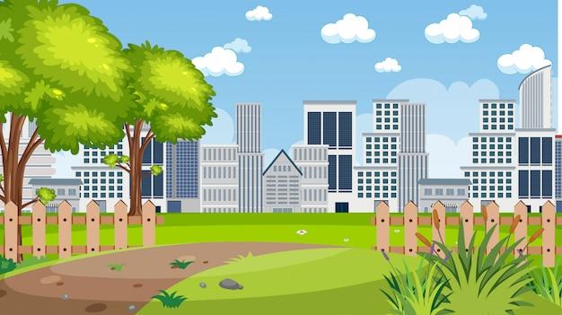 Scena del fondo con le costruzioni della città e il parco verde Vettore Premium