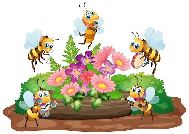 Scena del giardino con molte api che volano sul fondo bianco Vettore gratuito