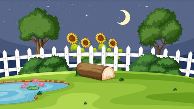 Scena del giardino di notte Vettore gratuito
