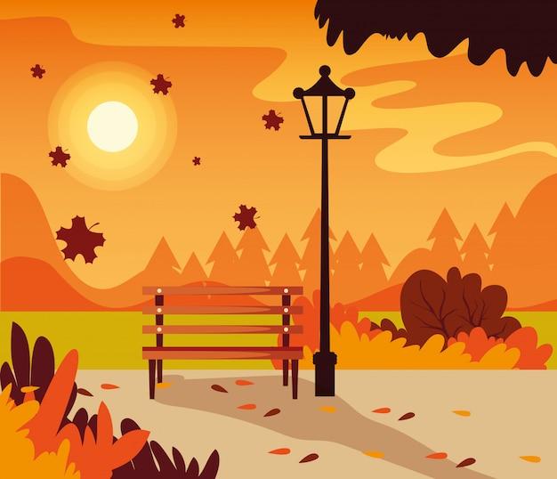 Scena del paesaggio di autunno con la sedia del parco Vettore Premium