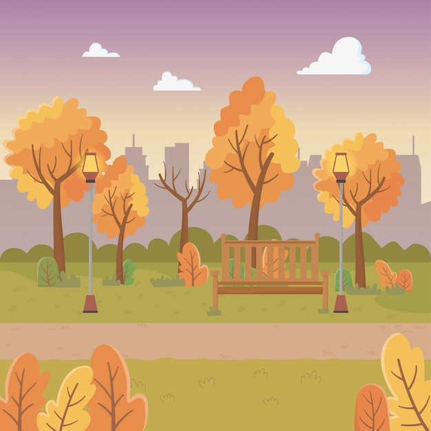 Scena del parco cittadino con lanterne e sedie Vettore gratuito