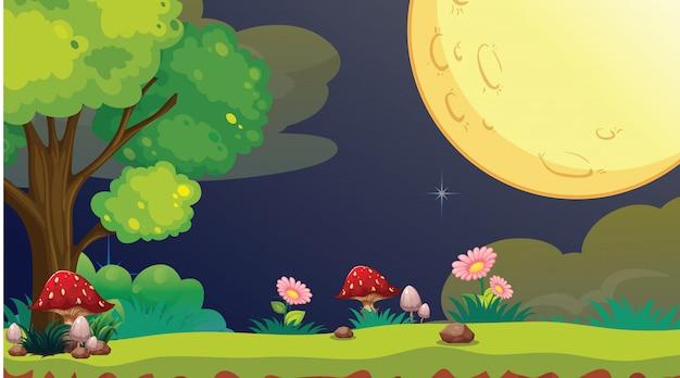 Scena del parco di notte con la luna piena Vettore gratuito