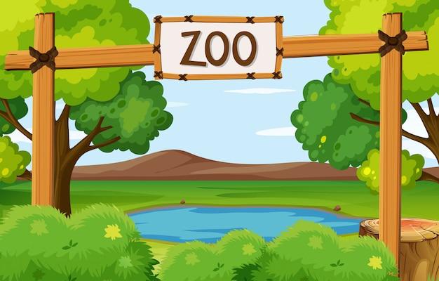 Scena del parco zoo con stagno nel campo Vettore Premium